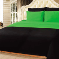 Tache 6 Piece Lime Green and Black Reversible Comforter Set, Queen Size