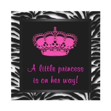 Princess Crown Hot Pink Zebra Baby Girl Shower Personalized Announcements from Zazzle.com