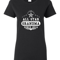 All Star GrandMa Since 2014 Pick Your Date Personalized Printed Grandmothers All Star Grandma Printed T Shirt Makes Great Gift Mothers Day