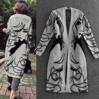 New Europe 2015 Autumn Winter Women's Thick Cardigans Cardigan Sweaters Female Loose Knit Long Clothing Women Sexy weater Coats (Size: 90 cm, Color: Grey) = 1958135684