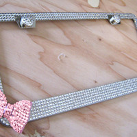 Clear Bling Glass Rhinestone License Plate Frame w/ Pink Bow On Side and 2 Caps
