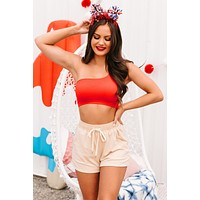 Confident Moves Seamless One Shoulder Bralette Top (Tomato Red)
