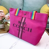COACH shopping bag Ze hardware LOGO shoulder bag shopping bag rose red