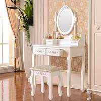 White Dressing Table with Stool Set Wood Makeup Desk