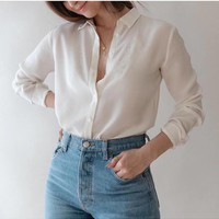 100% natural silk Blouses OL Solid Color Long Sleeve Real Silk Blouse business shirt for women Office Wear Shirts work Blouses