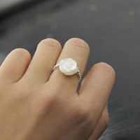 Nature Sea Shell Caved Rose 925 Silver Beads Ring