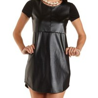 Faux Leather Shift Dress by Charlotte Russe - Black