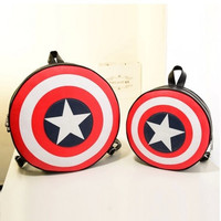 2016 New Fashion Women and Men Backpack Captain America Shield Backpack Unisex School Bags Backpacks for Teenage Girls and Boys