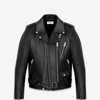 SAINT LAURENT SIGNATURE MOTORCYCLE JACKET IN BLACK WASHED LEATHER | YSL.COM
