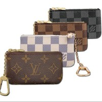 LV Louis Vuitton Stylish Retro Monogram Canvas PU Small Coin Purse Key Pouch I/A