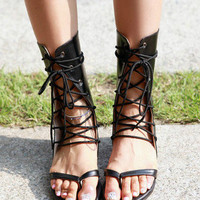 Womens Summer Lace Up Flat Thongs Shoes Laces Up Ankle Gladiator Roman Sandals