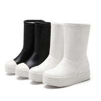 Black and White Boots Women Platform Shoes Fall Winter 4068