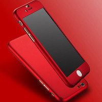 New Hybrid PC Hard Dropproof Metal Feeling Case 360 Full Body Cover+Tempered Glass For Capinhas iPhone 6 6s 7 7plus iPhone6 Case