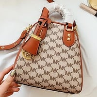 MK  New fashion more letter leather shoulder bag handbag crossbody bag Brown