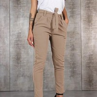 Khaki Plain Pockets Drawstring Waist Fashion Long Pants