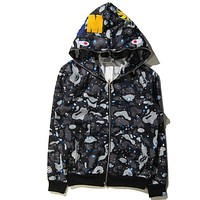 BAPE Shark Print Fashion Casual Autumn Winter Hoodie Long Sleeve Sweater Top Zipper Coat Lovers Jacket