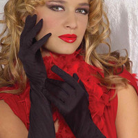 Costume Gloves Long Black Rouched Gloves