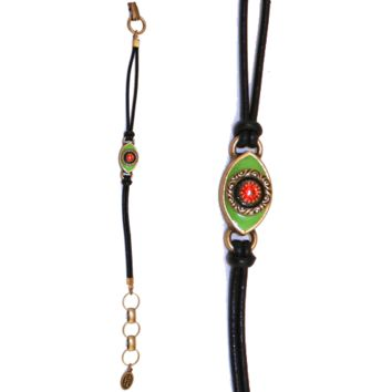 Green Evil Eye Bracelet with Red Crystal, Jewelry