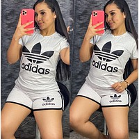 Adidas Women Fashion Short Sleeve Top Shorts Two-Piece