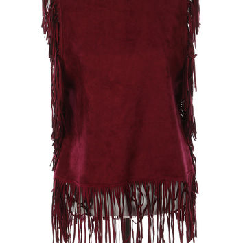LONG FRINGE SUEDE FEEL PONCHO