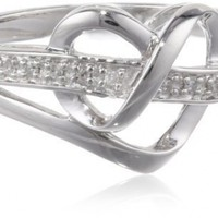 Sterling Silver Diamond Heart Ring, Size 7 (1/20 cttw)