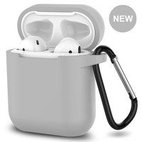 New AirPods Case, 360°Protective Silicone AirPods Accessories Kit Compatable with Apple AirPods 1st/2nd Charging Case [Not for Wireless Charging Case] - Gray
