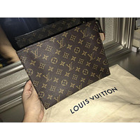 LV Louis Vuitton 3AAA Popular Women Men Monogram Leather Handbag Tote Makeup Bag Clutch Bag