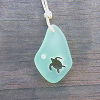 Sea Foam Green Sea Glass Carved Turtle Honu Necklace Sea Foam Beach Boho Summer Style by Wave of Life™