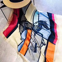 Hermes Fashion Women Easy To Match Smooth Silk Scarf Silk Scarves Shawl I-YH-FTMPF