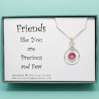 Birthday gift for best friend Sterling Silver Infinity necklace with Swarovski birthstone you are awesome gifts for her