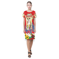 Cowgirl Sugar Skull Red Short Sleeves Casual Dress(Model D14) | ID: D1495046
