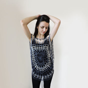 FREE SHIPPING Spider web top Crochet summer top Black Gray White Women lace top Gothic spider web blouse Sleeveless blouse Elegant black top
