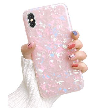 Dailylux iPhone XR Case,Cute Phone Case for Girls Women Glitter Pretty Design Protective Slim Shockproof Pearly-Lustre Shell Bumper Soft Silicone TPU Cover for iPhone XR 6.1 inch 2018,Colorful 01-Colorful