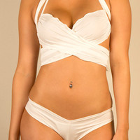 Hot Sexy Lingerie White Butterfly Top and Hot Pant Set