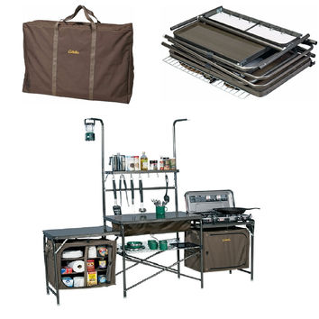 Outdoor Portable Camp Camping Kitchen PVC Sink Table Supplies w Carrying Case