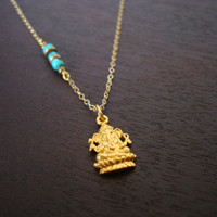 Gold Ganesha Turquoise Necklace - Or Choose a Birthstone - Throat Chakra Necklace, December Birthstone Necklace