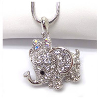 Adorable Crystal Accented Elephant Necklace