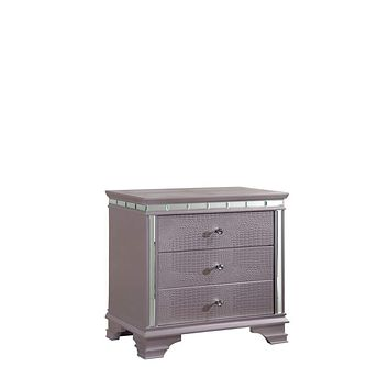 Solid Wood Three Drawer Nightstand with Mirror Accent Trim, Silver -CM7972N