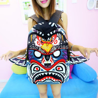 2015 NEW Owl backpack handwriting wing wings female bags canvas cartoon backpack casual fashion school bags for women backpack