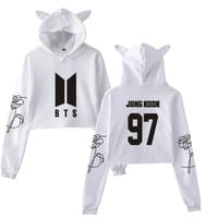 KPOP BTS Bangtan Boys Army Korean   love yourself Crop Top Hoodie For Women  Boys Letter Printed Fans Supportive Cat Ear Cropped Sweatshirt AT_89_10