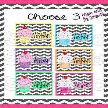 3 Personalized Custom  Chevron Cupcake bag tags Luggage tags Identification tag Girl bag tags Backpack tags Diaper bag tags If lost tags ID