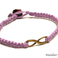 Clearance Sale, Lavender Hemp Bracelet, Brass Infinity Charm, Anniverary Gift, Valentines Day, Forever Always