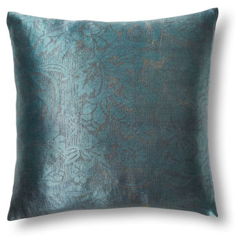 Woodcut 16x16 Silk Linen Pillow, Green, Decorative Pillows
