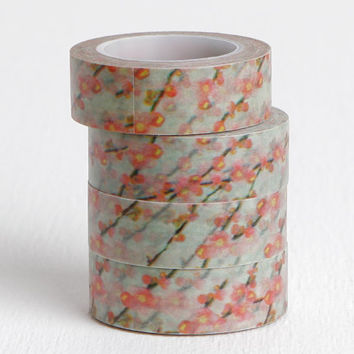 Impressionist Painting Style Cherry Blossom on Branches Washi Tape, 15mm