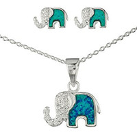 925 Sterling Silver Opal Elephant Pendant Necklace with Cz Stones and Matching Stud Earrings Jewelry Set