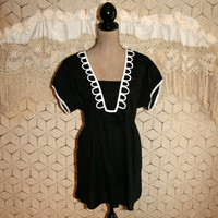 White + Black Cotton Top Summer Top Boho Top Casual Top Short Sleeve Top Lane Bryant Size 16 Size 18  XL 1X 2X Womens Plus Size Clothing