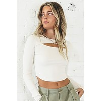 Bust A Move Ecru Cut Out Crop Top