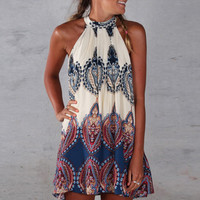 Heiley Boho Sleeveless Halterneck with All-Over Print and Back Keyhole Mini Dress - Beige