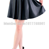 free shipping new high waist faux leather skater flare skirt mini skirt above knee solid color skirt S/M/L/XL