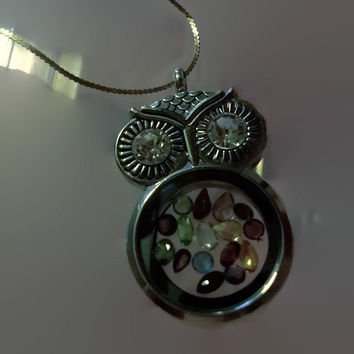 Silver Owl Story Locket Charm Pendant with Mix of Genuine Gemstones Included Gemstone Pendant Necklace Gift For Her